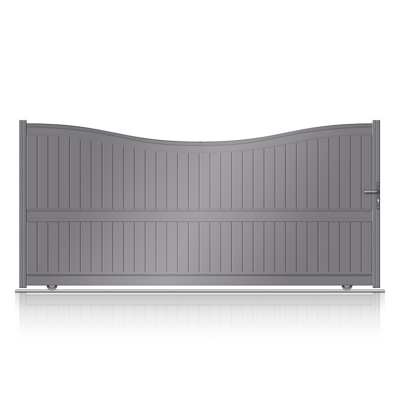 Portail aluminium coulissant plein incurvé plein
