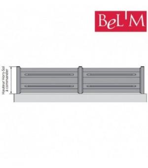 Clôture design en aluminium sur mesure by BEL'M avec embouts gris décoratifs
