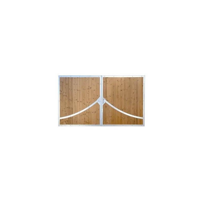 Portail bois NIORT avec cadre en acier et bois épicéa