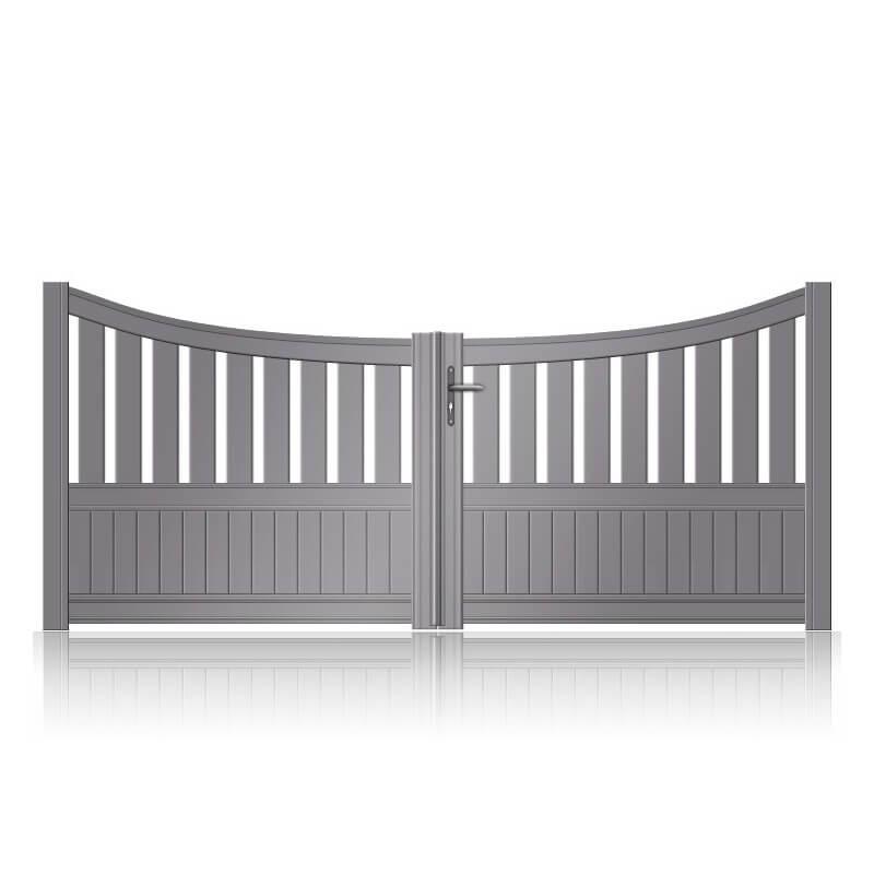 Portail aluminium battant semi-plein incurvé