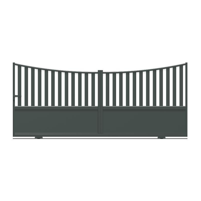 Portail qui coulisse sur rail en aluminium de forme incurvée avec tôle lisse et barreaux
