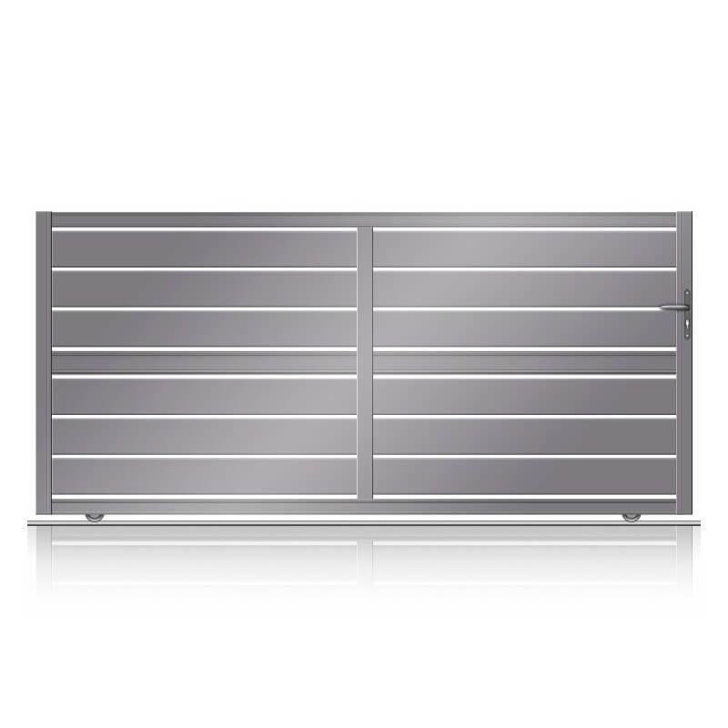 Portail ajourée coulissant aluminium à lames larges fabriqué en sur mesure