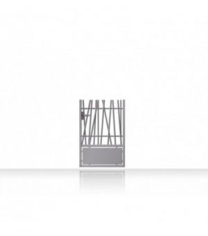Portillon alu ajouré avec barreaux asymétriques et bas plein