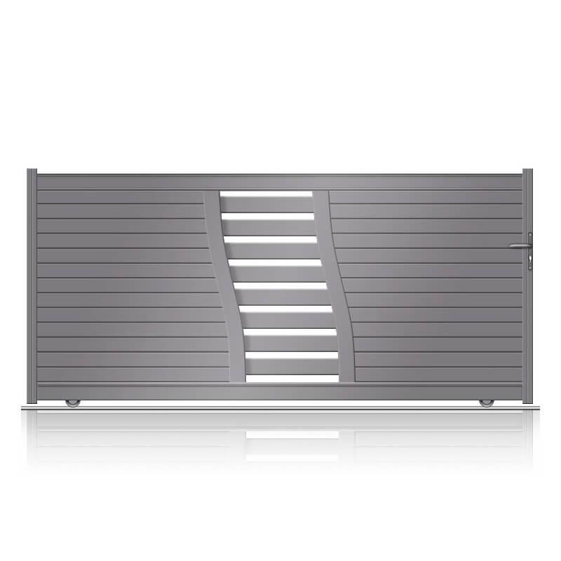 Portail aluminium semi-plein coulissant réf.Evry