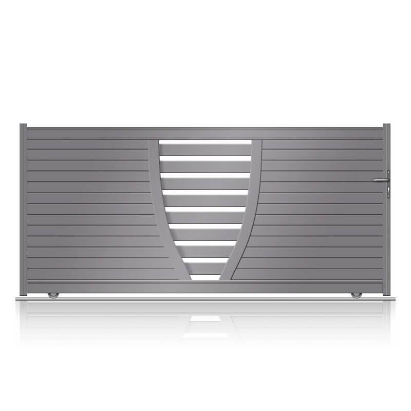 Portail design aluminium coulissant ajouré au centre sur mesure