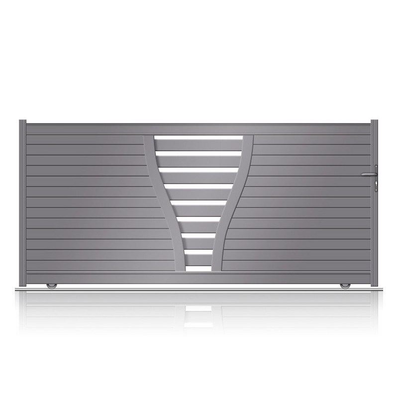 Portail sur mesure en aluminium ultracontemporain à ouverture coulissante
