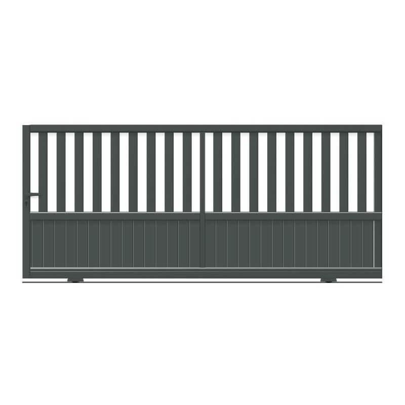 Portail aluminium coulissant semi-plein à barreaux et lambris vertical plein