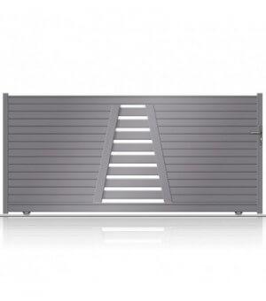 Portail coulissant design en aluminum sur mesure avec partie centrale ajourée