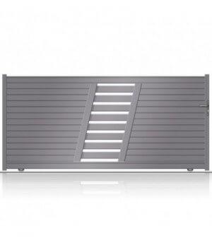 Portail aluminium coulissant design avec lignes dynamiques fabriqué en sur mesure