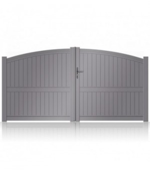 Portail aluminium thermolaqué battant remplissage plein et forme bombée