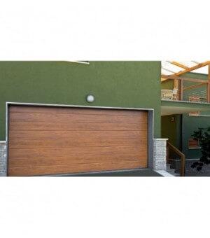 Porte de garage sectionnelle à chêne doré mono rainurée