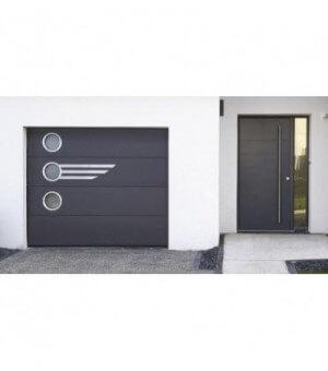 Porte lisse noire avec décors ALOE