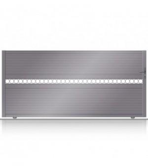Portail coulissant design avec lignes de lunes ajourées en aluminium sur mesure