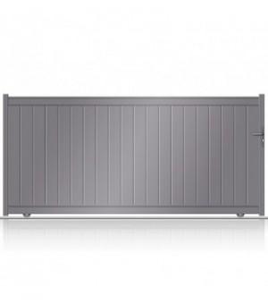 Portail aluminium coulissant plein à lames verticales