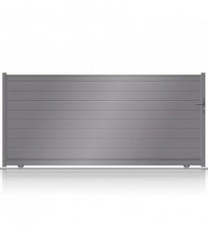 Portail aluminium plein à ouverture coulissante sur mesure et au look moderne