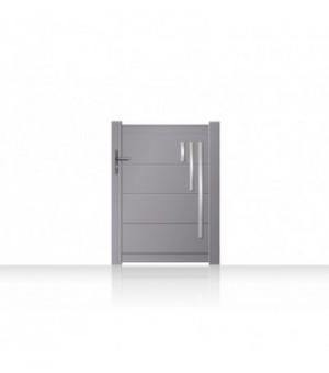 Portillon design en aluminium avec décors en aluminium brossé et anodisé sur mesure