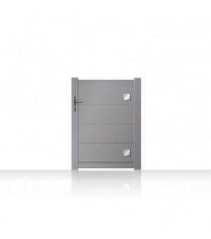 Portillon en aluminium à lames larges et inserts carrés en aluminium décoratifs