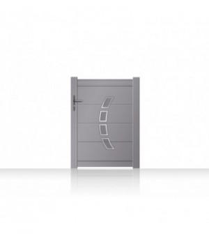 Portillon en aluminium plein à lames horizontales et décors Inox arqués