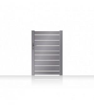 Portillon en aluminium sur mesure légèrement ajouré entre chaque lame horizontale pour laisser délicatement entrer la lumière e