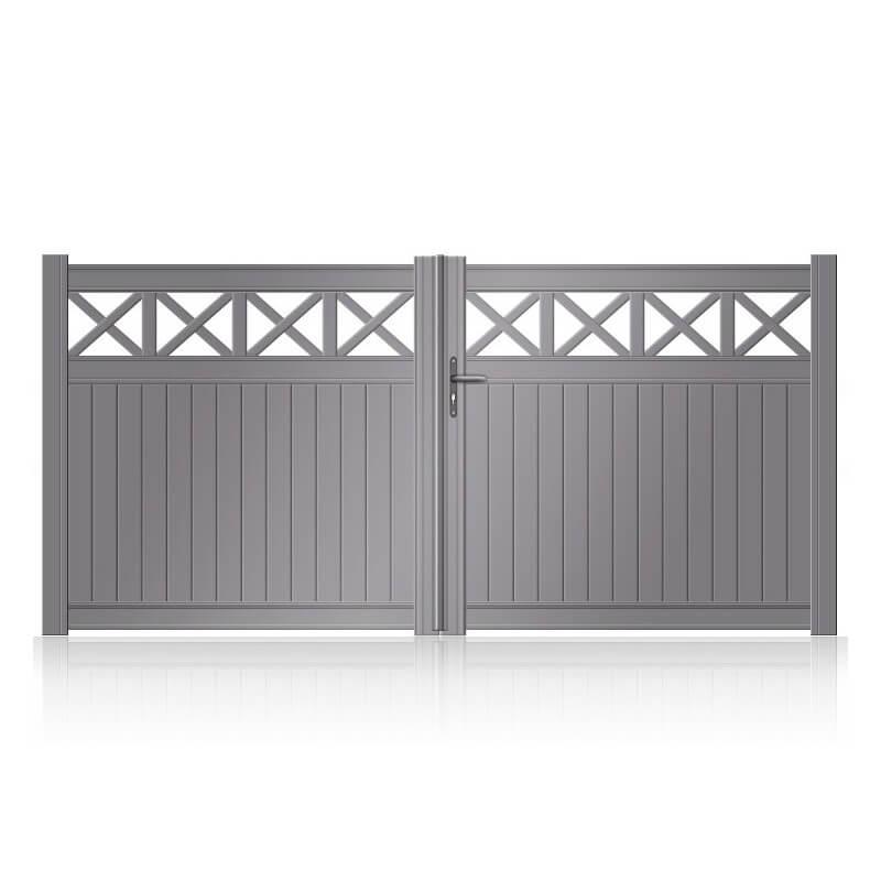 Portail aluminium battant semi-plein