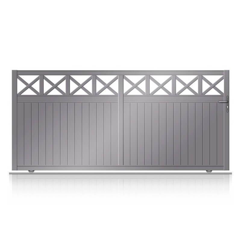Portail aluminium coulissant semi-plein avecpartie haute ajourée en croix soudées