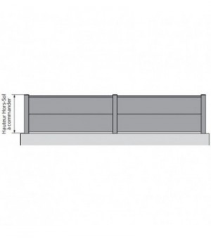 Clôture moderne aluminium pleine à lames extra largessur mesure