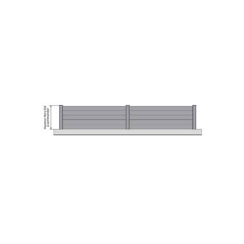 Clôture alu ajourée à lisses horizontales