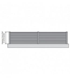 Clôture occultante aluminium avec lames horizontales sur mesure pleine