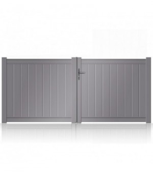 Portail aluminium sur mesure plein avec lames verticales