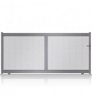 Portail aluminium coulissantavec tôle perforée en petits carréssur mesure