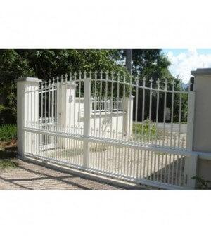 Portail aluminium coulissant double barreaux tradition
