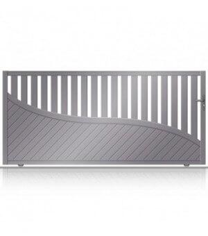 Portail aluminium coulissant avec soubassement courbé et au remplissage semi-ajouré