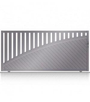 Portail ultra design en aluminium semi-ajouré avec traverse bombée diagonale