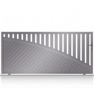 Portail aluminium coulissant design avec lambris fougères et soubassement courbé