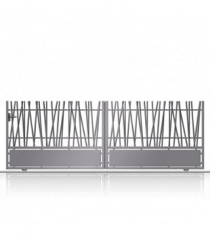 Portail aluminium coulissant à barreaux asymétriques et soubassement plein en tôle