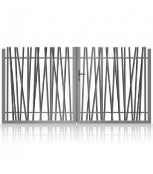 Portail aluminium à barreaux asymétriques design