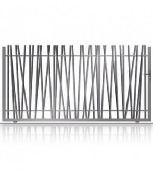 Portail coulissant sur mesure en aluminium avec barreaux asymétriques