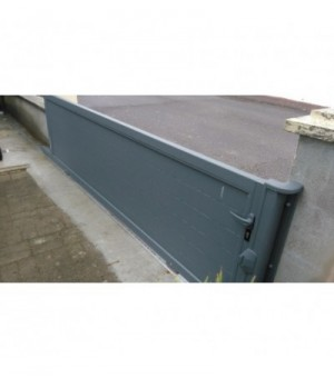 Portail coulissant en aluminium plein à lambris horizontal à petit prix