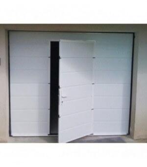 Porte sectionnelle avec portillon blanche