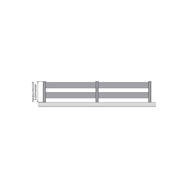 Clôture aluminium à lames horizontales ajourée KRUZ