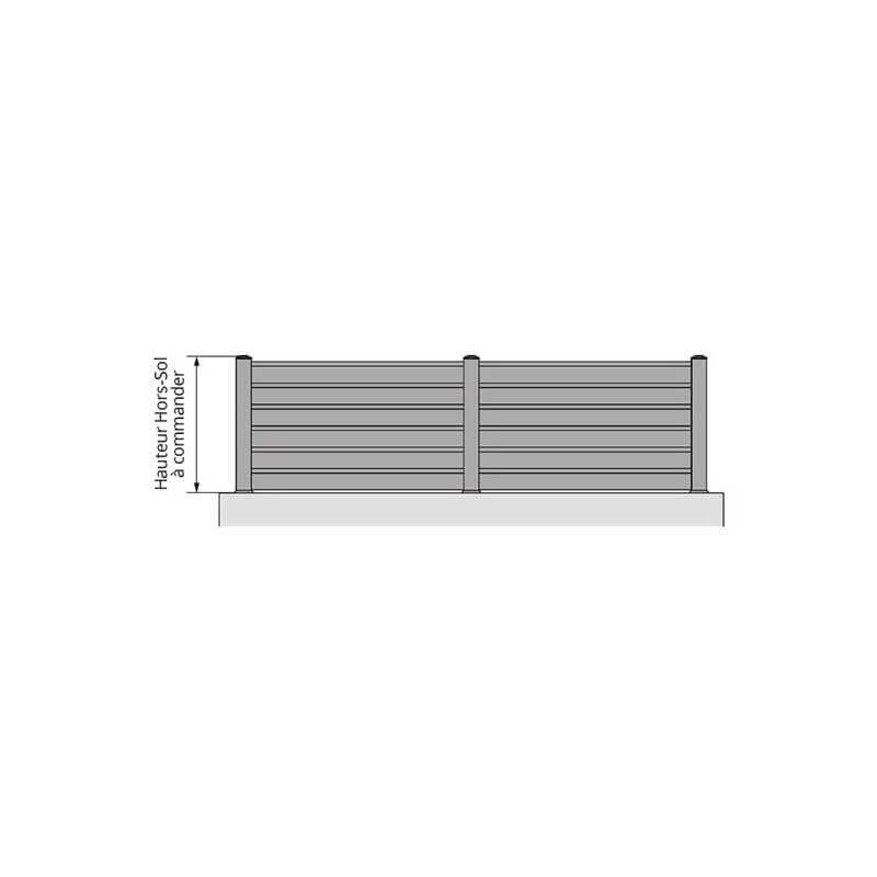 Clôture brise-vue en PVC à lames inclinées sur mesure