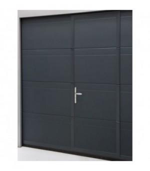 Porte sectionnelle avec portillon grise