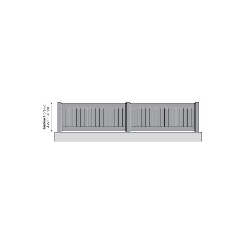 Clôture aluminium pleine à lames verticales