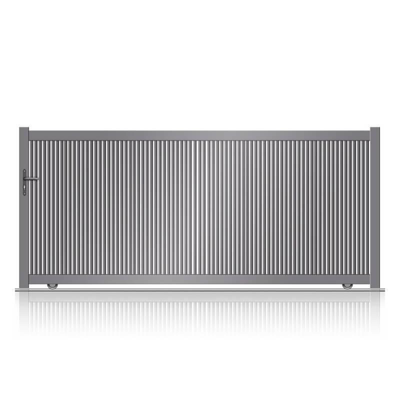 Portail aluminium coulissant à barreaux verticaux légèrement ajouré sur mesure