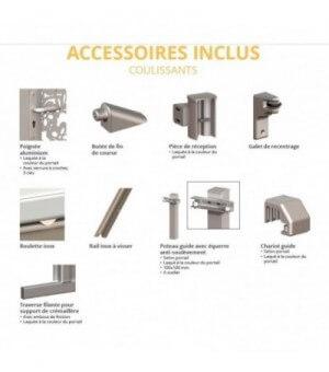 Portail aluminium coulissant moderne à lames persiennées et traverse intermédiaire