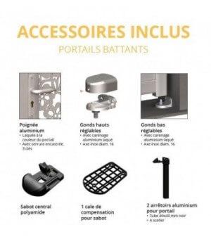 Schéma des accessoires inclus avec votre portail alu battant