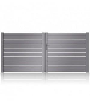 NOUVEAU: portail battant aluminium plein à lames larges et jonc alu