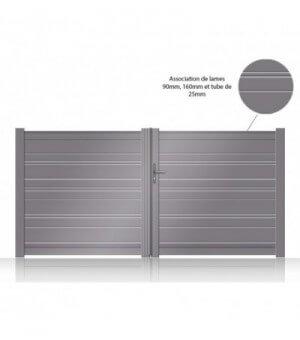 portail aluminium lames ajourées 2 vantaux