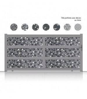 portail kulib coulissant aluminium tôle perforée décor