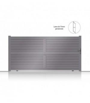 Portail coulissant en aluminium à lames fines horizontales persiennées à configurer en sur mesure